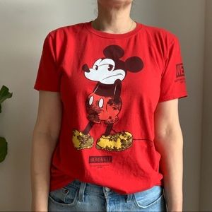 Disney Neff Mickey Mouse Graphic Red T Shirt M